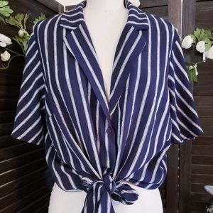 Striped Tie Front Top